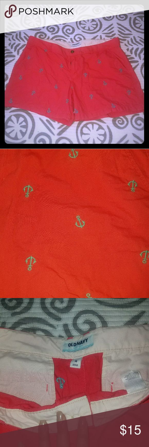 OLD NAVY CORAL AND TEAL ANCHOR SHORTS These coral shorts with achors embroidered on them. These are perfect for a day on the boat! These are old navy chino material. Old Navy Shorts