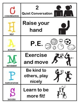 Champs Behavior And Expectations Chart P E Champs