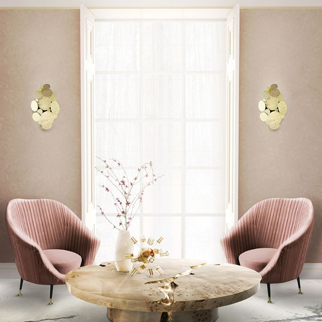 Pink hues can work perfectly as a neutral colour for your home decor. Add some brass details from the Newton wall lamps and the Empire centre table enhance the softness and warmth of this colour. #bocadolobo #passioniseverything #luxuryfurniture #luxury #design #furniture #productdesign #exclusivedesign #inspirations #creativedesign #desinginspiration  #homedecor #homeideas #interiordesign #interiors #pink