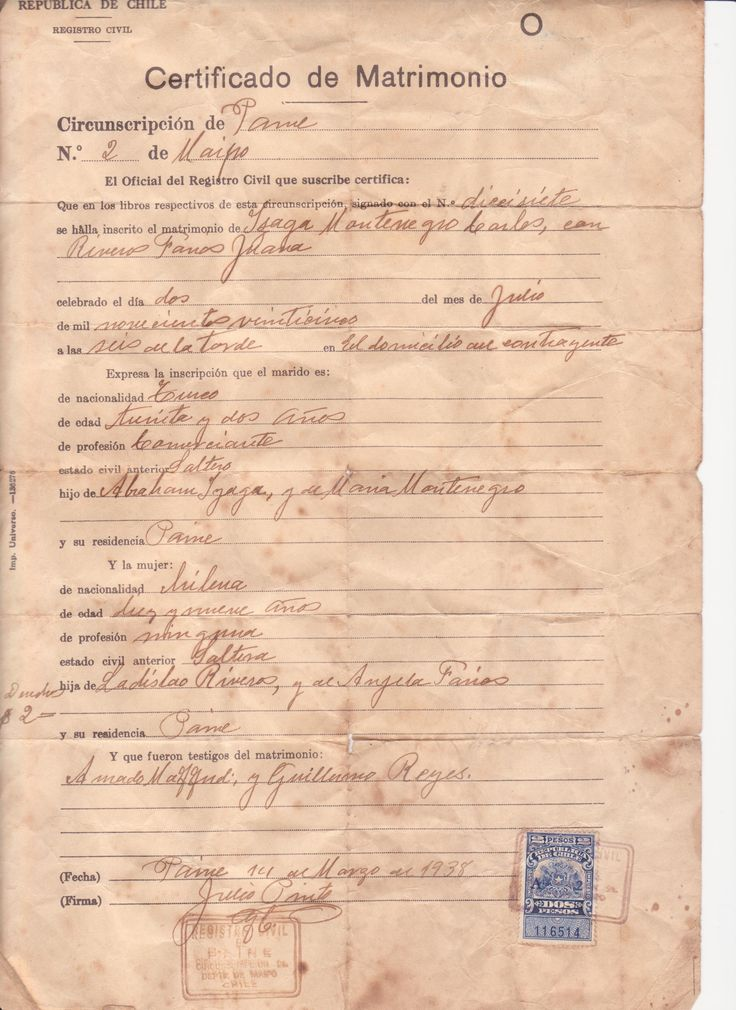 Certificado de Matrimonio año 1925