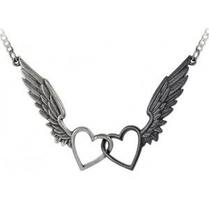 Passio Wings of Love Gothic Double Heart Necklace - New at GothicPlus.com - your source for gothic clothing jewelry shoes boots and home decor. #gothic #fashion #steampunk