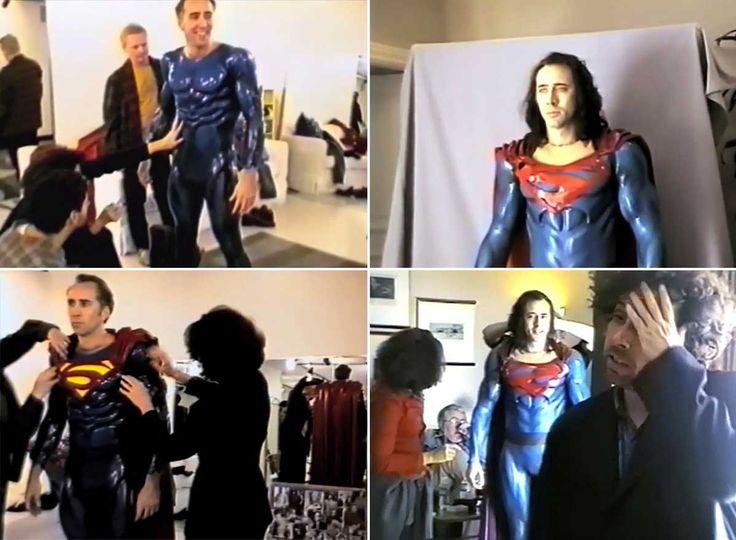 Nicolas Cage testing the Superman costume for Tim Burton's canceled movie Superman Lives