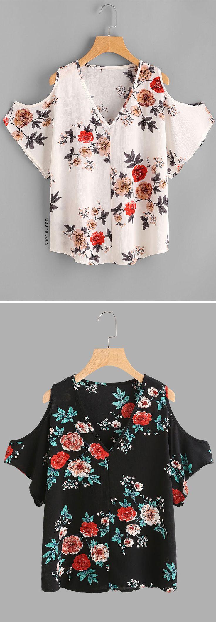 V Neckline Open Shoulder Calico Print Top