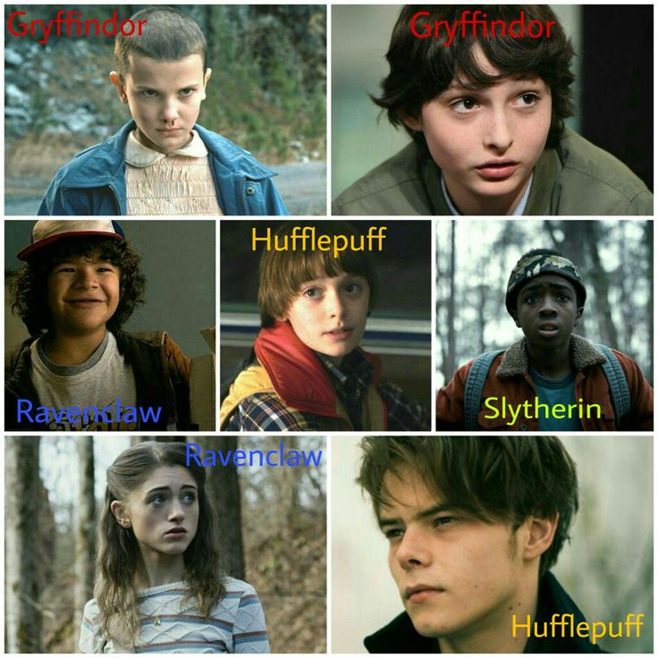 Because I love Harry Potter and Stranger Things... Stranger Things characters with their Hogwarts Houses