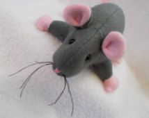 "You Choose Boy or Girl 13 1/2"" Baby Rat Mouse cloth Doll handmade Gray Pink stuffed animal plush rodent pet Christmas Easter soft sculpted"