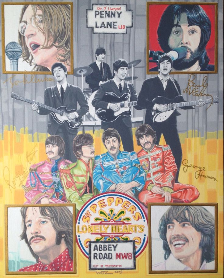 Artist WOZ fine art painting 'The Beatles' Acrylic on canvas 16x20 inch. Limited Edition Prints available on EBay search 'artist WOZ'.