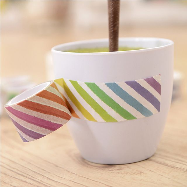 3cm*7m Color stripes washi tape DIY decorative scrapbook planner masking tape adhesive tape stationery school supplies