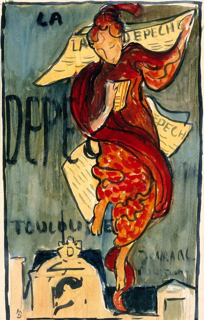 Maurice-denis-etude-pour-la-depeche-de-toulouse-1892-gouache-et-aquarelle-sur-papier+MuseeBonnard-LeCannet