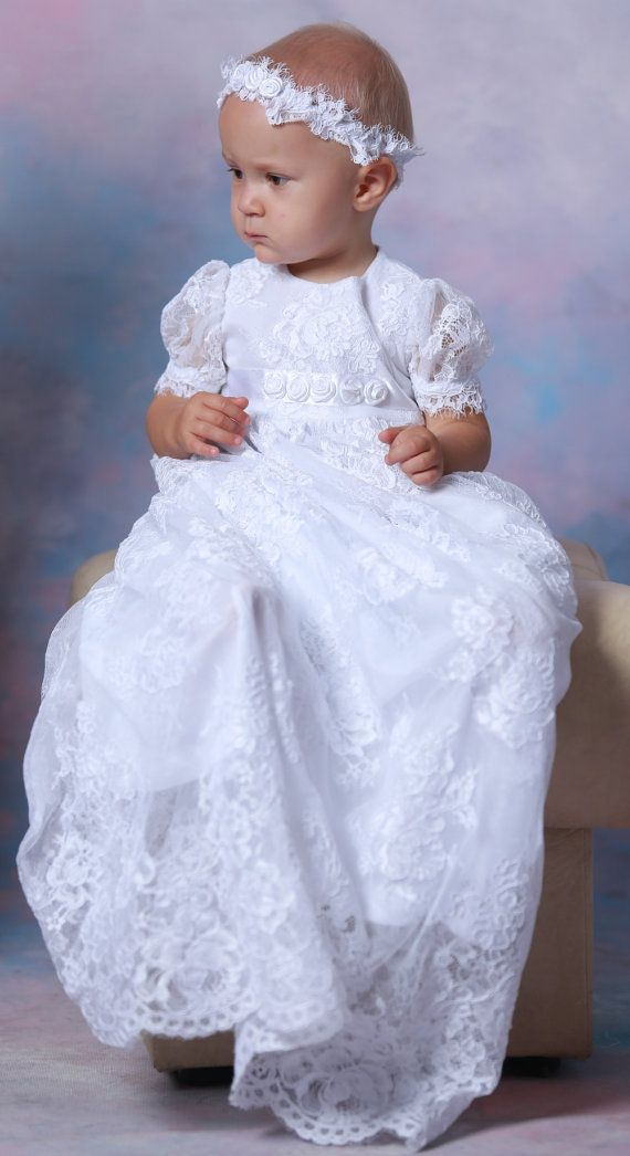 ANGEL Christening Gown Lace Baptism Gown Baptism dress