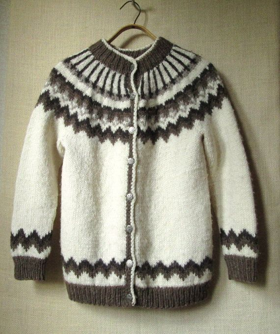 oversized sweater - hand knit sweater - cardigan sweater - Nordic sweater - snowflake sweater $35