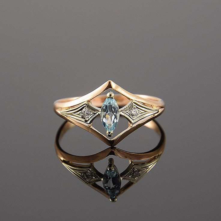Art deco ring, Topaz ring, Gold art deco ring, Topaz ring gold, Blue stone ring…