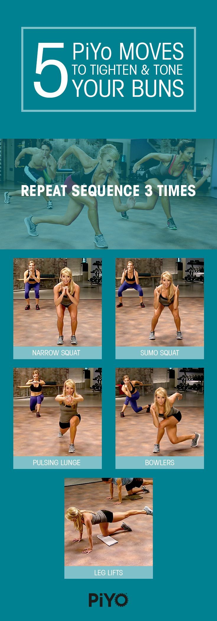 Tighten and tone your booty with these 5 moves from PiYo! They incorporate the best of Pilates and Yoga to help sculpt and strengthen your butt into everything you've ever wanted. Click through to learn how to do the moves properly! // fitness // workout // exercise // butt workouts // booty workouts // lower body workouts // piyo // chalene johnson // mini workouts // simple moves // beginner // Beachbody // BeachbodyBlog.com