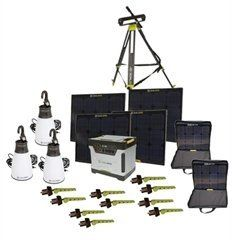 Goal Zero BONUS Yeti 1250 Solar Generator Kit with cart, (4) Boulder 30 solar panels, (2) panel carrying cases, (1) Solar Tripod (holds 4 panels), 3 Light a Life Lanterns, (10) Boulder Clips by Goal Zero. Save 22 Off!. $2499.00. Includes: (1) Yeti 1250 Solar Generator - From phones, to laptops, tablets, computer, TV's, refrigerators, freezers, washers, and dryers, the Yeti will keep you going through thick and thin. (4) Boulder 30 Solar Panels - With four panels Collect 120...