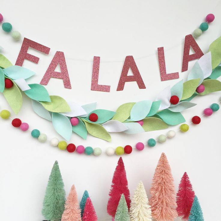 Felted wool garland and  pastel bottle brush trees