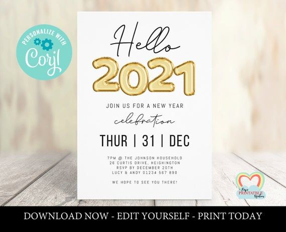 Gold new year party invitation | new year's eve celebration | hello 2021 | printable new year ...