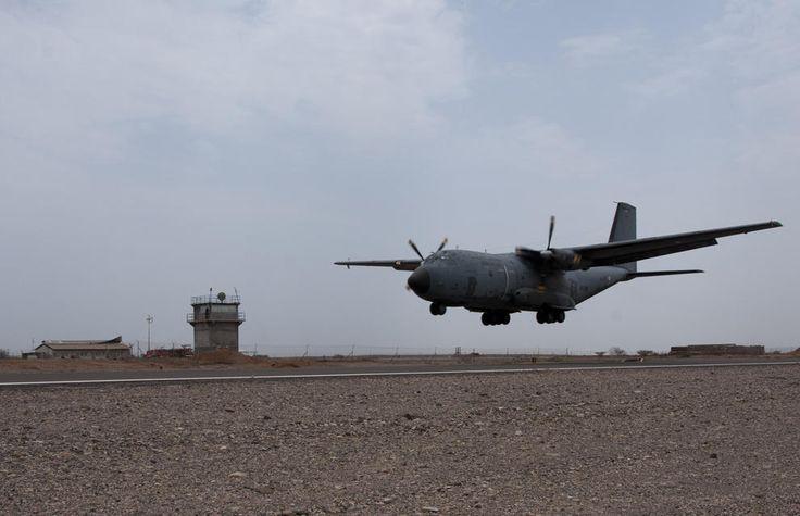 French Armée de l'Air C160 Transall tactical transport at Djibouti,29 August 2013.