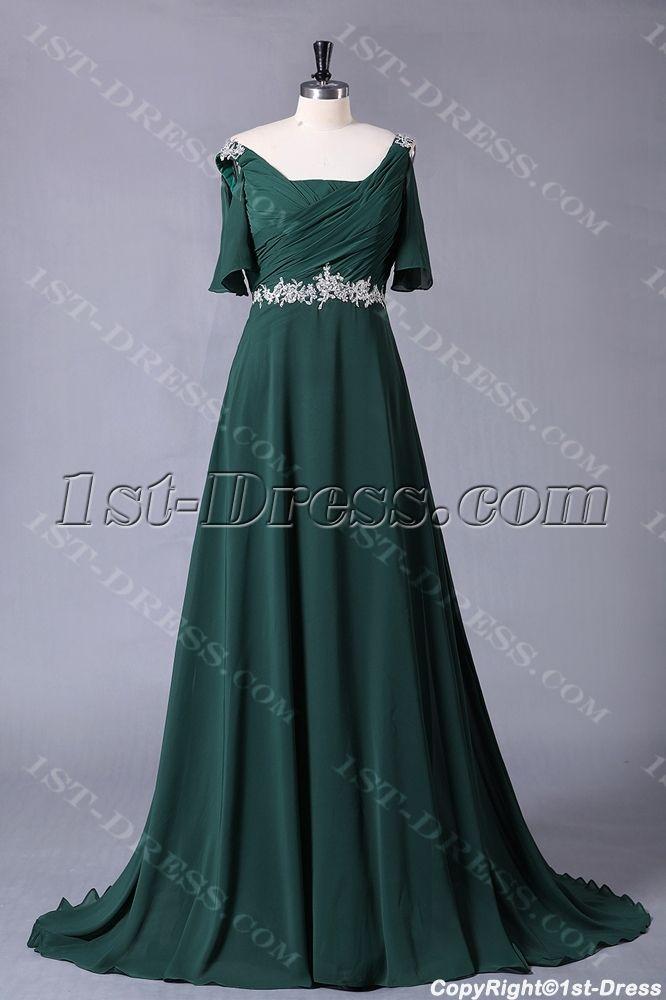 Hunter Green Chiffon Formal Plus Size Evening Dress with Sleeves:1st-dress.com
