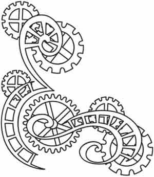 Clockwork Magic - Cogs Corner | Urban Threads: Unique and Awesome Embroidery Designs $1 for PDF pattern