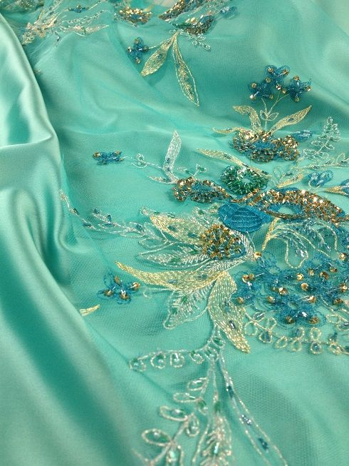 Embroidered lace, chic dress lace, haute couture, turquoise lace, Sanmartin, fabrics