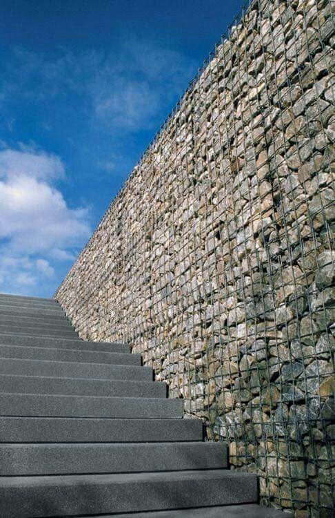 gabion wall along steps