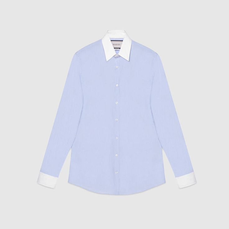 GUCCI Point Collar Shirt - Baby Blue Cotton. #gucci #cloth #all