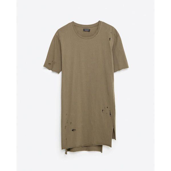 Zara Ripped T-Shirt featuring polyvore, men's fashion, men's clothing, men's shirts, men's t-shirts and khaki