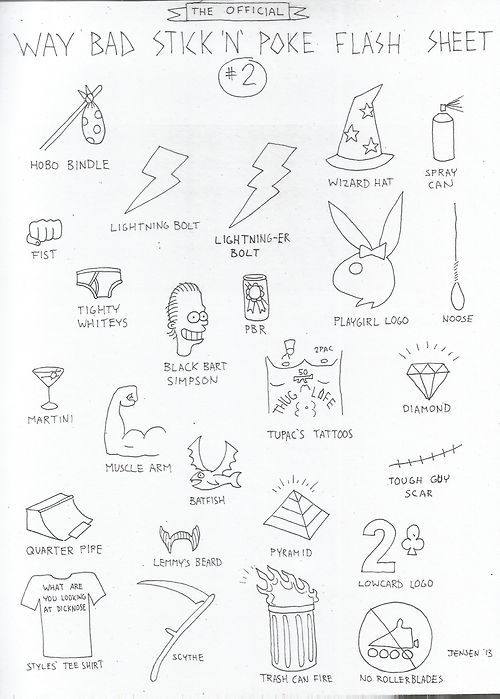 TUESDAY, APRIL 2nd, 2013 I made another Way Bad Stick N Poke Flash Sheet. Have at er, bad kids!  (Check out the first one here.)
