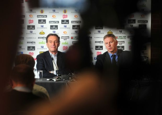Cellino and Adam Pearson in a press conference.