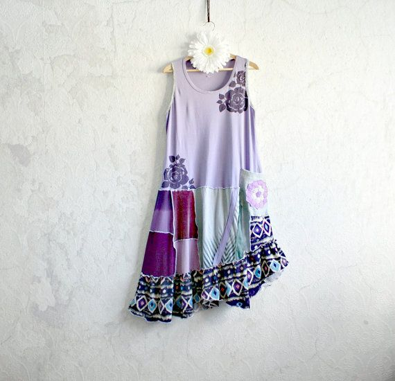 Purple Sundress Boho Clothing Slouchy Dress Hippie Chic Eco Fashion Patchwork Style Asymmetrical Hem Womens Clothes XL JOOP via Etsy