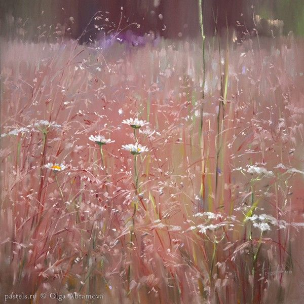 Pastels by Olga Abramova.   Russian North. Rose meadow, 2014. Кенозерье. Розовое поле