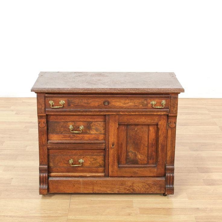 Marble Top 3 Drawer Cabinet | Loveseat Vintage Furniture San Diego & Los Angeles