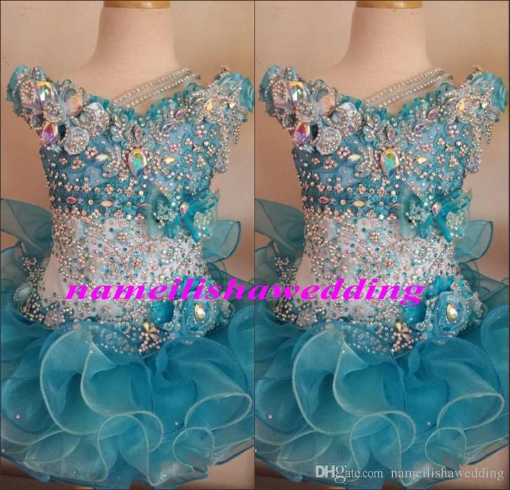 Baby Cupcake Pageant Dresses 2015 Beaded Organza Cute Little Girls Glitz Prom Gowns Infant Scoop Light Blue Crystal Kids Birthday Party Wear Flower Girl Dresses For Less Girls Designer Dresses From Nameilishawedding, $76.44| Dhgate.Com