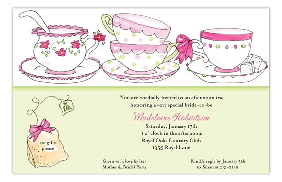 Polka Dot Bridal Tea Invitations like this Time for Tea Invitation from The Rosanne Beck Collection are a trendy way to throw a pre-wedding party for the bride or a kids birthday party for girls. The tea cups and teabag are a soft, cute design that you can add your personalized text to and design your own invitations online in our design studio. Choose from a list of fonts and colors to layout your card yourself using our invitations templates or choose to use our tea party sample text and wordi