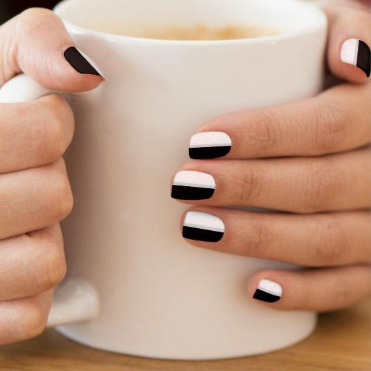Black, White, Silver Gray Stripes Minx Nail Wraps