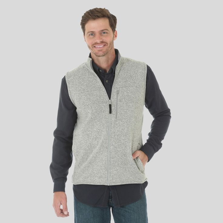 Men's Outdoor Vest Light Heather Grey Medium - Wrangler, Heather Gray