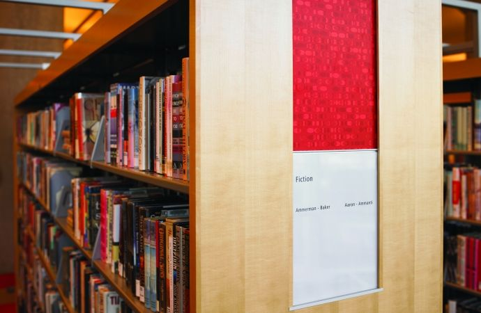 Library shelves featuring Formica Red Eclipse.