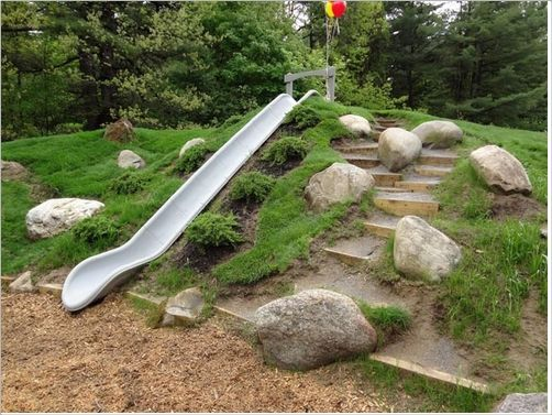 We are doing this in our backyard - we already have the terraced steps and slope - just need to find a slide that's long enough...