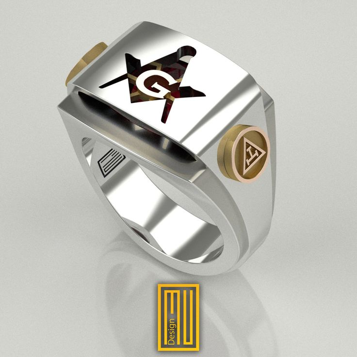 York Rite and Master Mason Ring Unique Design for Men 925k Sterling Silver body with 14k Rose Gold Tools and Zirconia Ruby, 2015 edition by MuDesignJewelry on Etsy