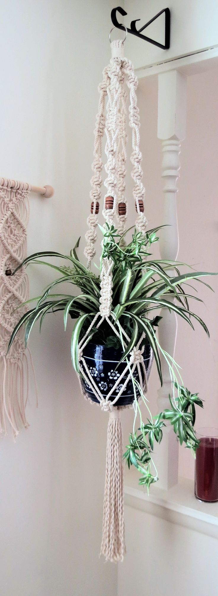 Give your plants a beautiful home with this White Cotton Macrame Plant Holder Hanger.  Rope Hanging Planter, Modern Hippie 70s Boho Pot Hanger Holder, Large Thick Beaded Ceiling Planter, boho home decor, modern living room home decor, twist spiral  plant hangers, nautical decor, nautical rope decor, thick white cotton rope pot hanger