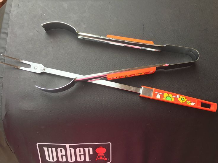 """Vintage Ekco 16"""" Meat Fork and Tongs Set - Retro Barbecue BBQ Tools - Flower Power by MidwestThriftGal on Etsy"""