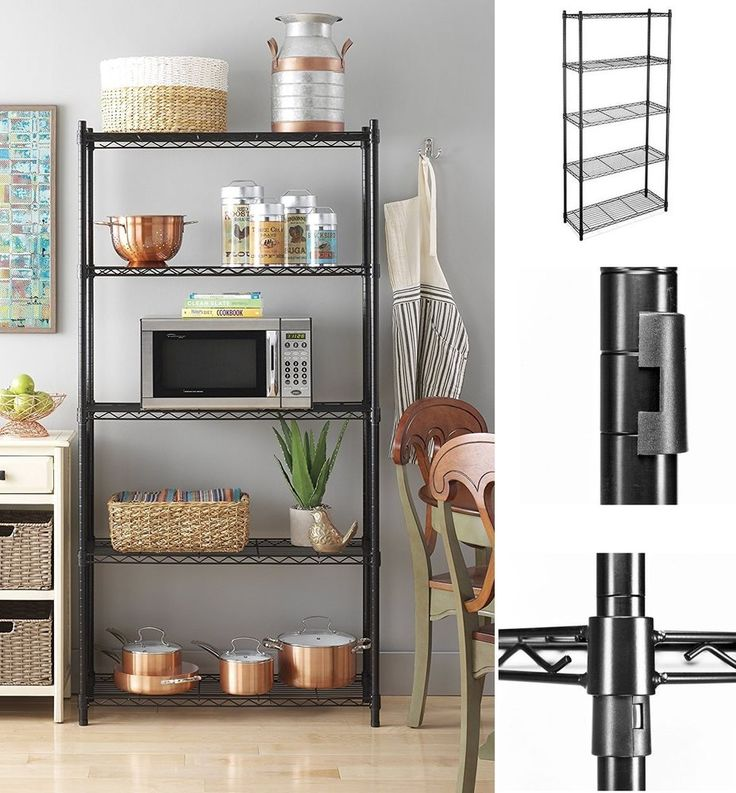 Storage Shelving Unit Adjustable 5-Shelf  Heavy-Duty Steel Home Garage Organizer #StorageShelvingUnit