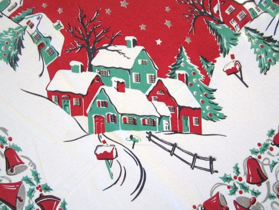 vintage christmas tablecloths | Vintage Christmas Tablecloth Winter Currier & Ives by NeatoKeen