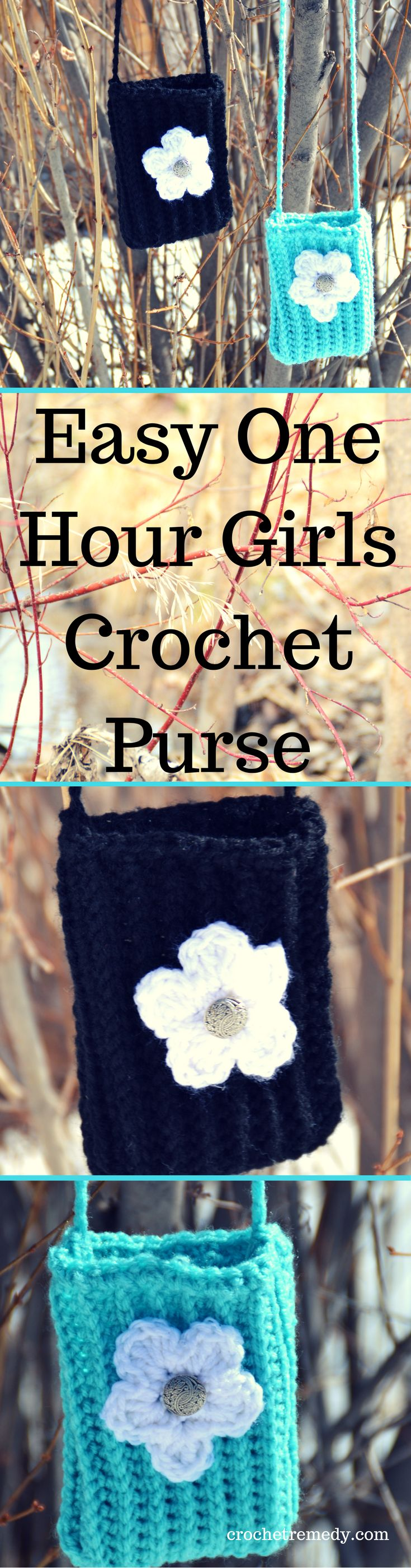 Crochet: Easy, one-hour, girls crochet purse | Free Pattern | Crochet For Beginners