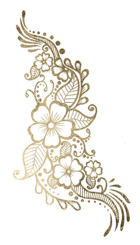 This is a 2 x 3.5 tattoo of some dainty gold flowers. Put them on your hand or hip bone to give any outfit a little edge.    Our non-toxic