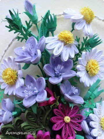 Картина панно рисунок Квиллинг Флоксы и корзина с цветами Бумага фото 6