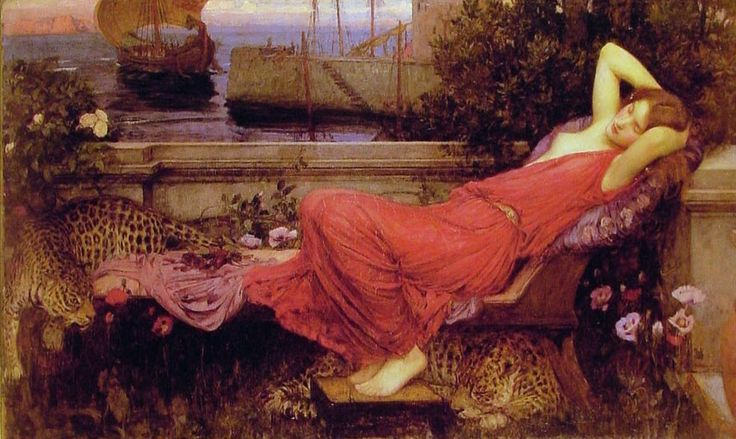 John William Waterhouse Ariadne - Rosalia (festival) -  the sleeping red-gowned Ariadne is surrounded by roses, with the sailing background implying both the departure of Theseus and the advent of Dionysus, foreshadowed by his leopards