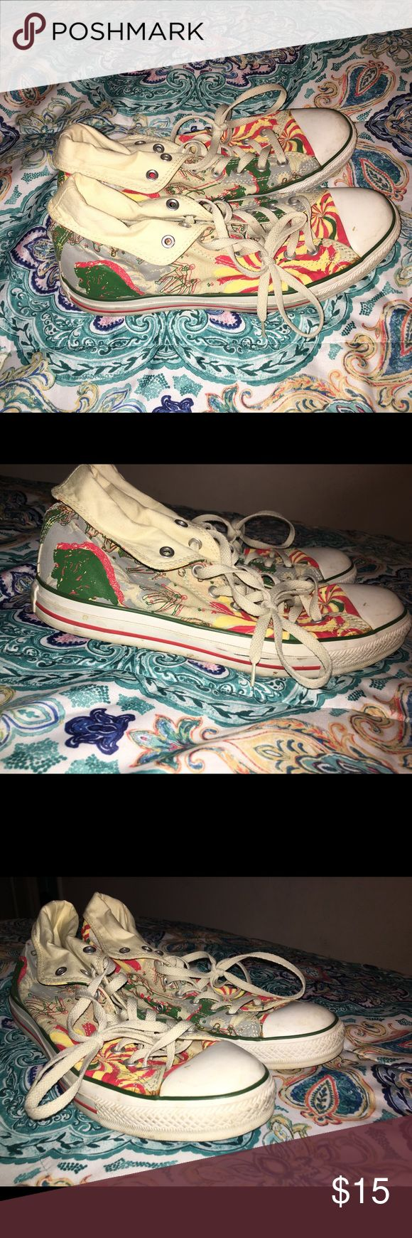 Bob Marley reggae Chuck Taylor's Very unique just need to be cleaned a little. Converse Shoes Sneakers