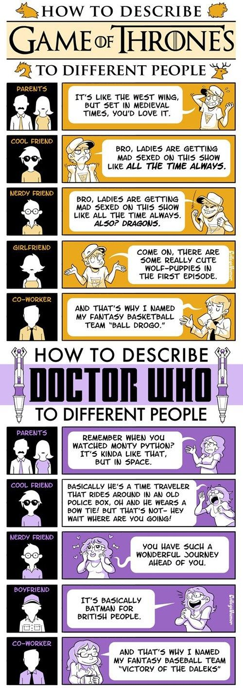 Explaining Game of Thrones and Doctor Who #fanart #flowchart #infographic