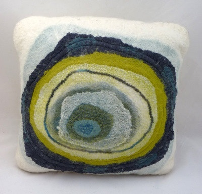 "Hand felted abstract cushion 'Ripple'. Approx. 16"" x 16"" (40.5 cm x 40.5 cm).. $102.50, via Etsy."