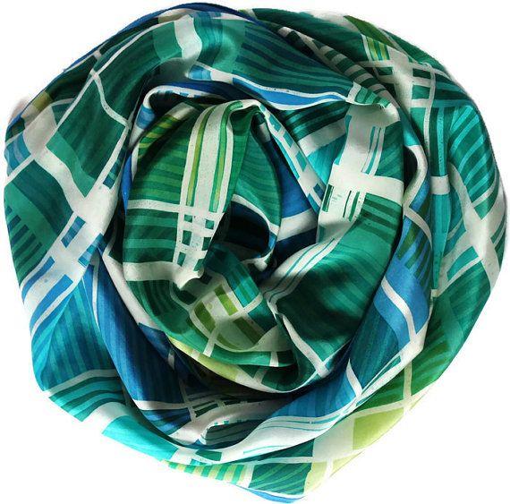 Bright geometric silk scarf, large handpainted scarf, emerald mint scarf, window pane scarf, batik silk shawl, youth fashion, unisex